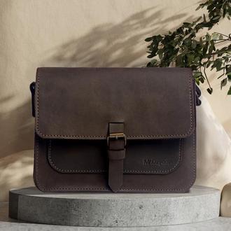 Женская кожаная сумка Mr.Dzyadik Base D112 Коричневая