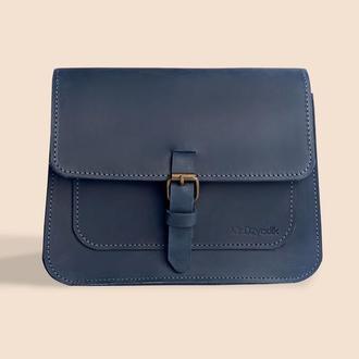 Женская кожаная сумка Mr.Dzyadik Base D112 Синяя