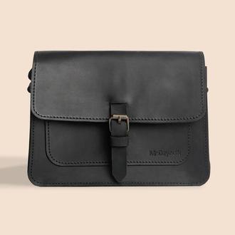Жіноча шкіряна сумка Mr.Dzyadik Base D112 Чорна