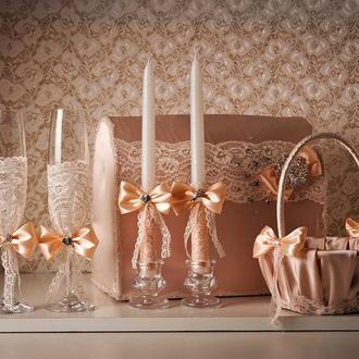 Весільний набір. У ніжно персикових тонах - Створено на замовлення