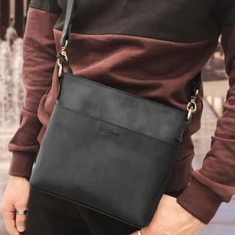 Кожаная мужская сумка черного цвета