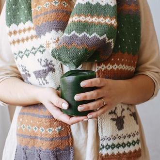 Вязаный шарф с оленями (зелено-рыжий)
