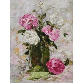 Розы , холст на подрамнике 30х40 см, масло, мастихин, кисть