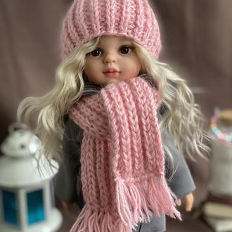 Вязаный комплект шапка шарф для куклы Паола Рейна 32 см, Одежда для Paola Reina