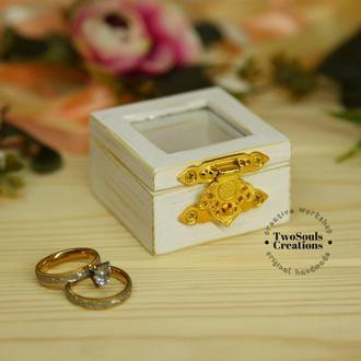 Деревянная коробочка для обручальных колец, свадебная шкатулка, деревянная шкатулка для колец.