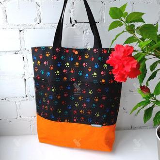 Эко сумка для покупок с лапками, эко пакет, эко торба, котосумка, шоппер 51(1)