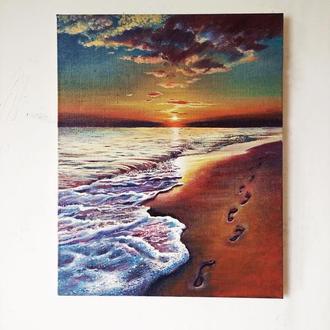 Картина маслом Море, закат