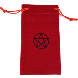 Мешочек из бархата для карт таро или рун с пентаграммой, красный (Код 916)