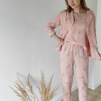 Муслиновая пижама тройка в перышки