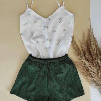 Нежная пижама из жатого муслина шорты и маечка