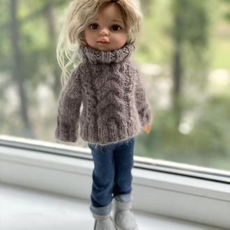 Модный вязаный свитер для куклы Паола Рейна 32 см, Вязаная одежда Paola Reina