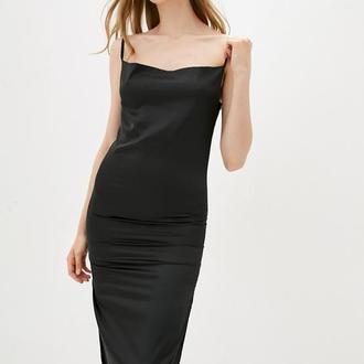 Черная комбинация с разрезом, черное платье из шелка