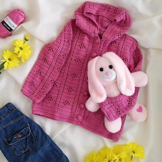 Вязаный кардиган на девочку с капюшоном на пуговицах Розовая кофта на девочку 2 3 5 лет