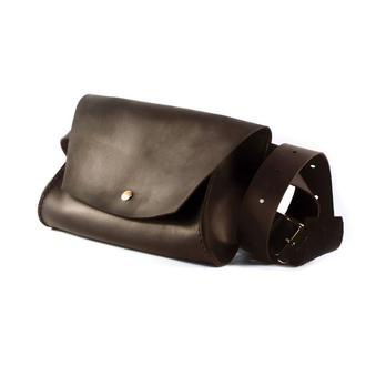 Женская кожаная поясная сумка (Кросс боди) The Girl из натуральной кожи - Тёмно-коричневая