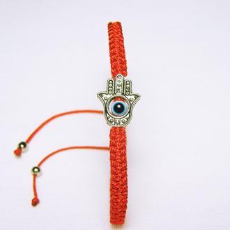Браслет плетеный красный рука Фатимы от сглаза