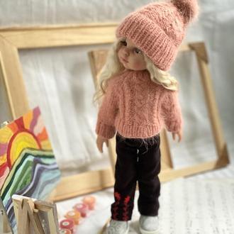 Комплект кукольной одежды: шапка с помпоном из норки и вязаный свитер для куклы Паола  Рейна 32 см