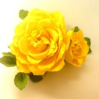 желтые розы заколка из фоамирана