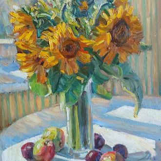 Картина маслом цветы подсолнухи натюрморт