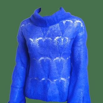 Тонкий, короткий пухнастий светр-павутинка з кидмохера з шалевим коміром.