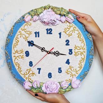 """Настенные часы """"французский шик"""" с объемными розами, оригинальный подарок"""