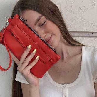 Красный женский кошелек-клатч