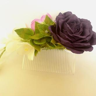 гребень для волос из фоамирана розы и фрезии
