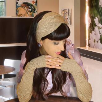 Набор: митенки-перчатки и повязка на голову - пудровая пастель