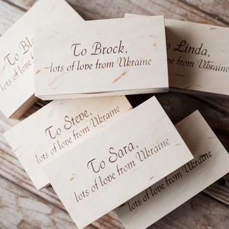 Комплекты брендированных коробок. Деревянные коробки для личных изделий. Коробки с логотипом.