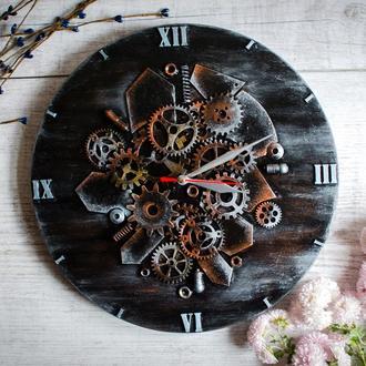 """Настенные часы """"Temperament"""" в стиле Steampunk из дерева и металла"""