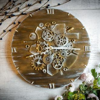 """Настенные часы """"Restraint"""" в стиле Steampunk из дерева и металла"""