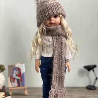 Ангоровый вязаный комплект шапка и шарф для куклы Паола Рейна 32 см, Одежда для Paola Reina