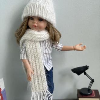 Вязаный комплект шапка шарф для куклы Паола Рейна 32 см, Одежда Paola Reina