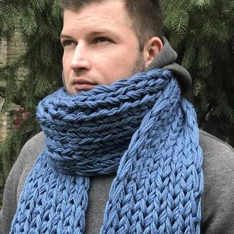 Шерстяной шарф цвет индиго