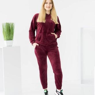 Бордовый велюровый женский спортивный костюм