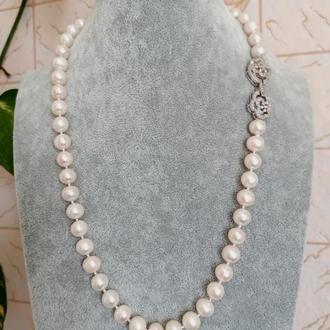 Ожерелье из жемчуга белое жемчужное колье бусы культивированный жемчуг