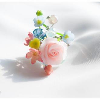 """Кольцо с розой """"Любимое утро"""""""
