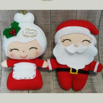 Новогодние игрушки. Санта Клаус и Миссис Санта.