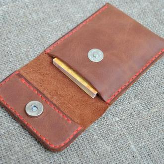 Чехол для карт или визиток из натуральной кожи KAR01-210+red
