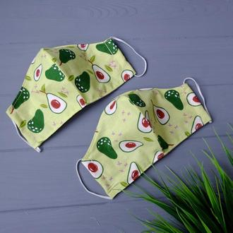 Маска тканевая с авокадо, многоразовая маска для лица, маска для обличчя