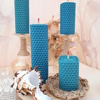 """Набор """"Морской """".Свечи из вощины в синем цвете и темная бирюза. Свечи для души."""