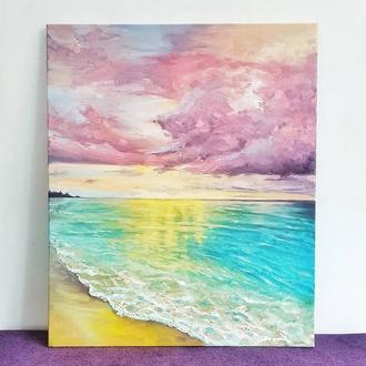 Морской закат, картина маслом