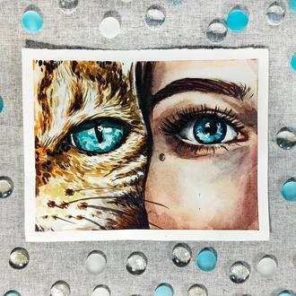 Голубые  глаза. Девушка и кошка