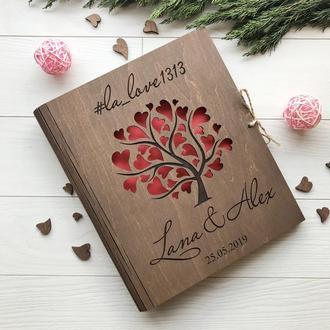 Дерев'яний альбом для теплих слів і побажань під замовлення