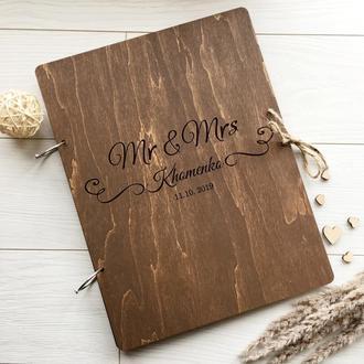 Деревянная папка для свидетельства о браке с индивидуальной гравировкой на заказ