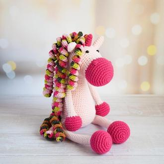 Вязаный милый единорог. Мягкая игрушка для сна и игры. Подарок новорожденному. Эко-игрушка.