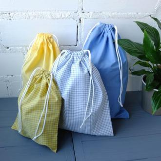 Набір еко мішечків з бавовни 3 шт, еко торбочки, мішки для продуктів, зберігання