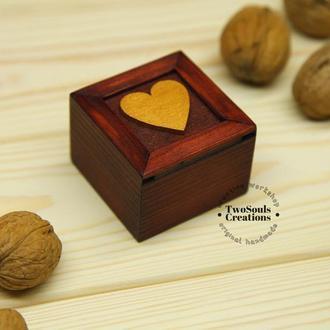Деревянная коробочка для обручального кольца, коробочка для кольца, деревянная шкатулка для кольца.