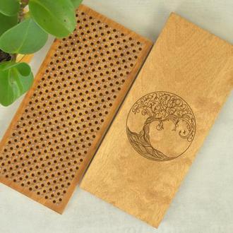 Доска Садху для начинающих с шагом 10 мм, с гравировкой №2, цвет орех
