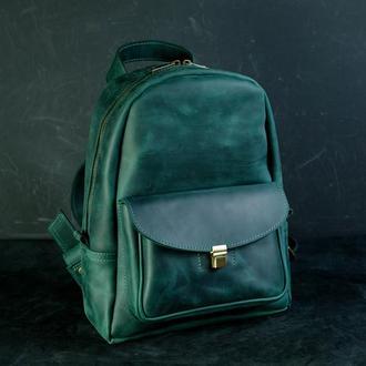 """Женский кожаный рюкзак """"Стамбул"""", винтажная кожа, цвет зеленый"""