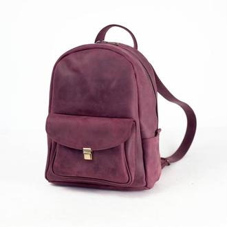 """Женский кожаный рюкзак """"Стамбул"""", винтажная кожа, цвет бордо"""